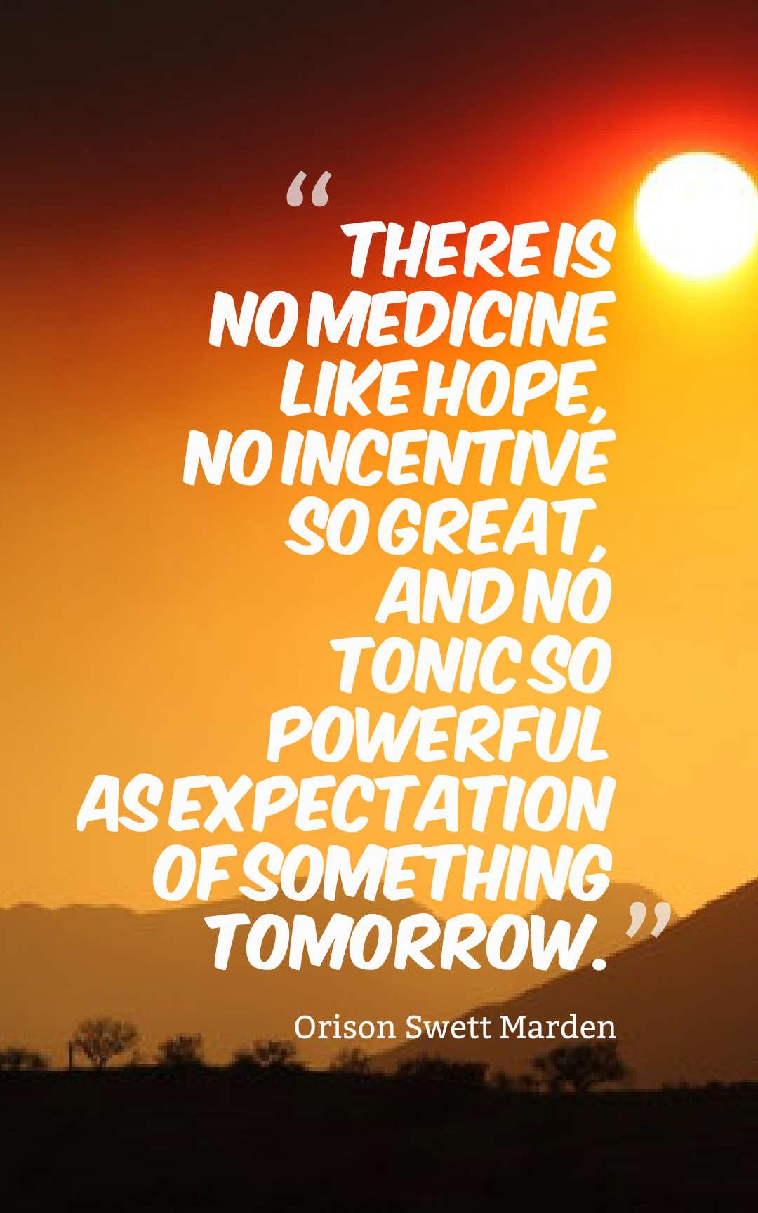 There is no medicine like hope - Orison Swett Marden