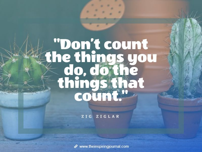 zig ziglar quotes - Don't count the things you do, do the things that count. – Zig Ziglar