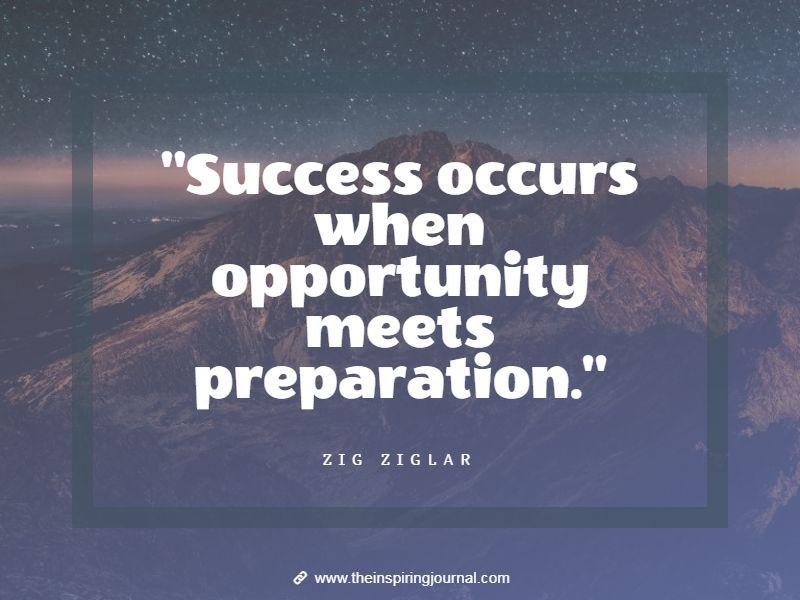 zig ziglar quotes - Success occurs when opportunity meets preparation. – Zig Ziglar
