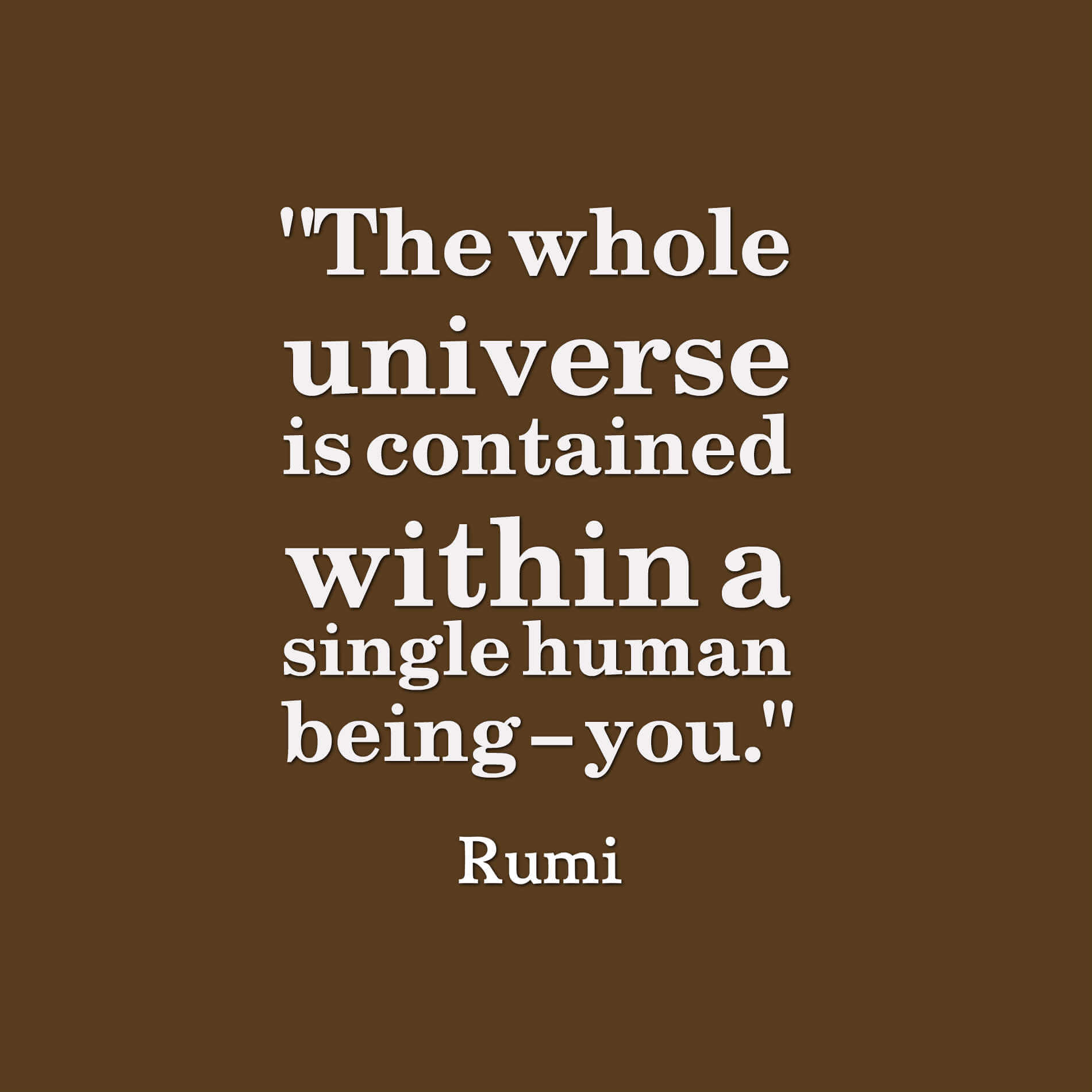 The whole universe is contained within a single human being – you. rumi quotes