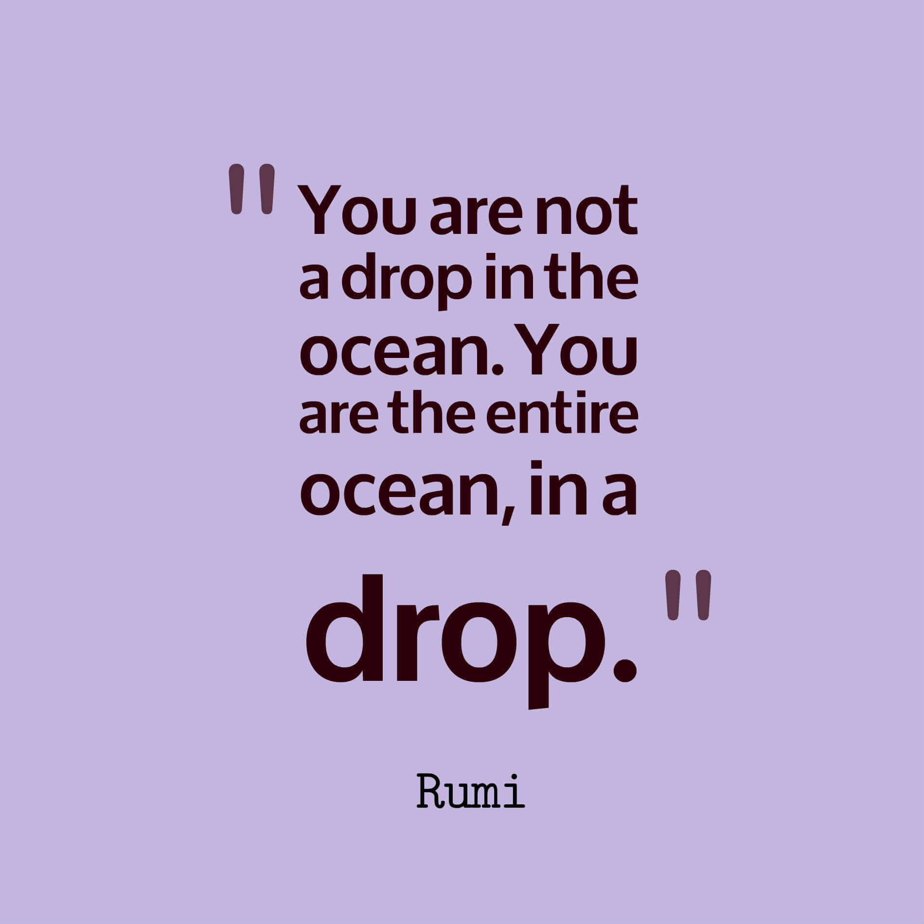 You are not a drop in the ocean. You are the entire ocean, in a drop. - rumi quotes